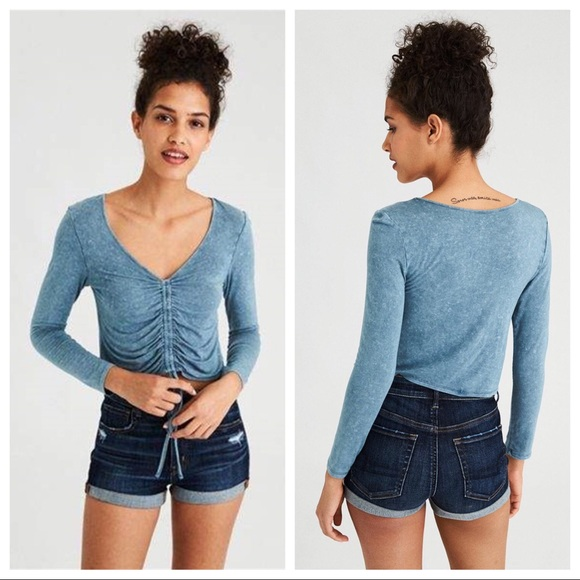 1a44abf83ff Ae Soft & Sexy Long Sleeve Ruched Front T-shirt. NWT. American Eagle  Outfitters